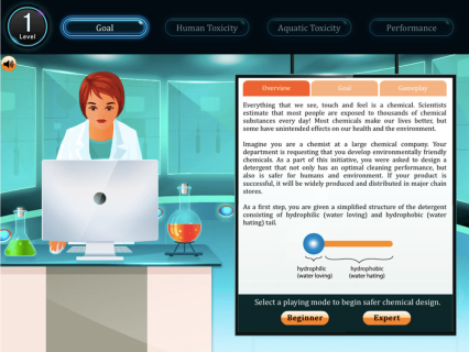 The game was designed to introduce students to safer chemical design concepts that are focused on the manipulation of molecule parameters in order to minimize the undesired biological and environmental interactions of a hypothetical commercial chemical. The game scenarios model the decision making process used by professionals to design a new chemical. Critically, the computer game simulates the real-world constraints that may affect chemical product development as the student designs a novel product. Players are presented with the challenge of creating a molecule by changing molecular parameters to achieve the optimal result, and while doing so, navigate trade-offs that result from their choices. Each level was divided into three sub-levels, namely, human toxicity, aquatic toxicity and performance, and each has a task that requires completion.